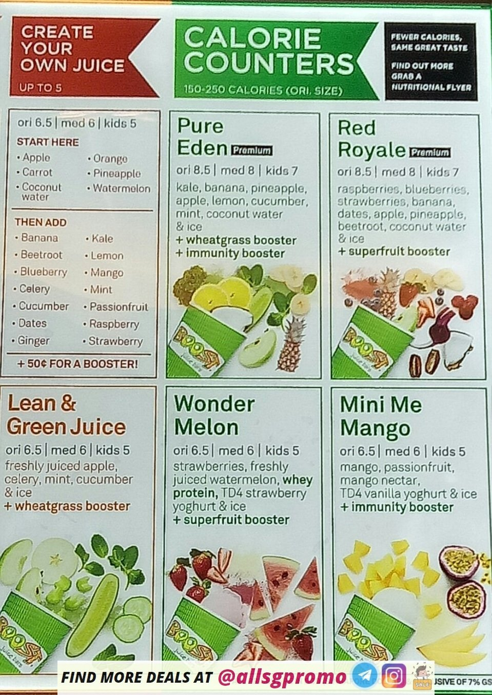 Boost Juice Menu 2020: Boost Juice Menu at Bukit Timah Outlet