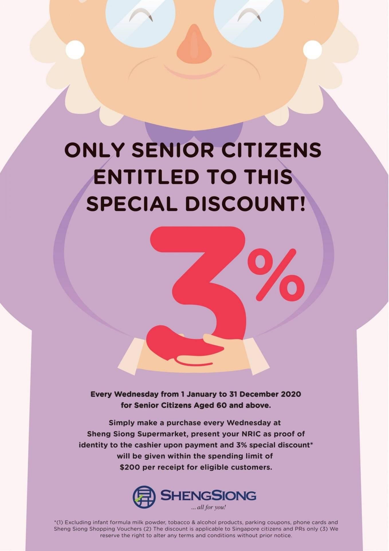 Senior Citizens Enjoys Additional 3% Discounts